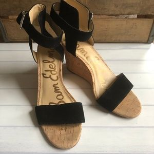 Sam Edelman Willow Black Cork Wedges 8.5